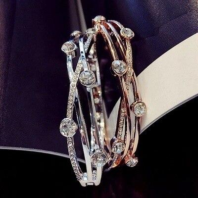 Pulsera de piedra redonda de cristal con abalorio para mujer, brazalete cruzado de Color plata a la moda, pulseras elegantes de boda para mujer