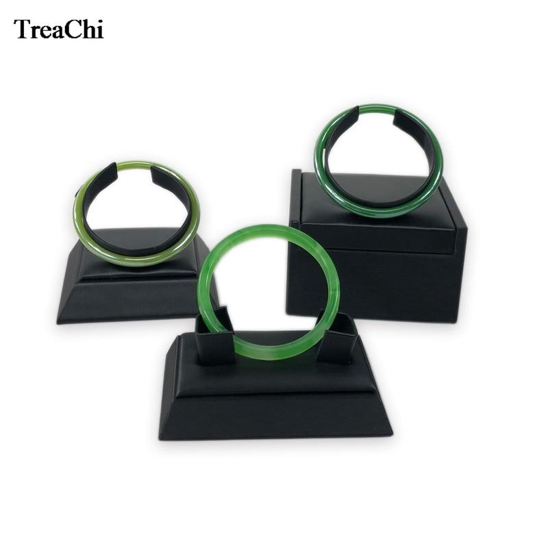 3 unids/lote, brazalete de cuero cepillado negro, Kit de soporte para exhibición de joyería, brazalete dorado, brazalete de Jade, organizador, venta de fábrica
