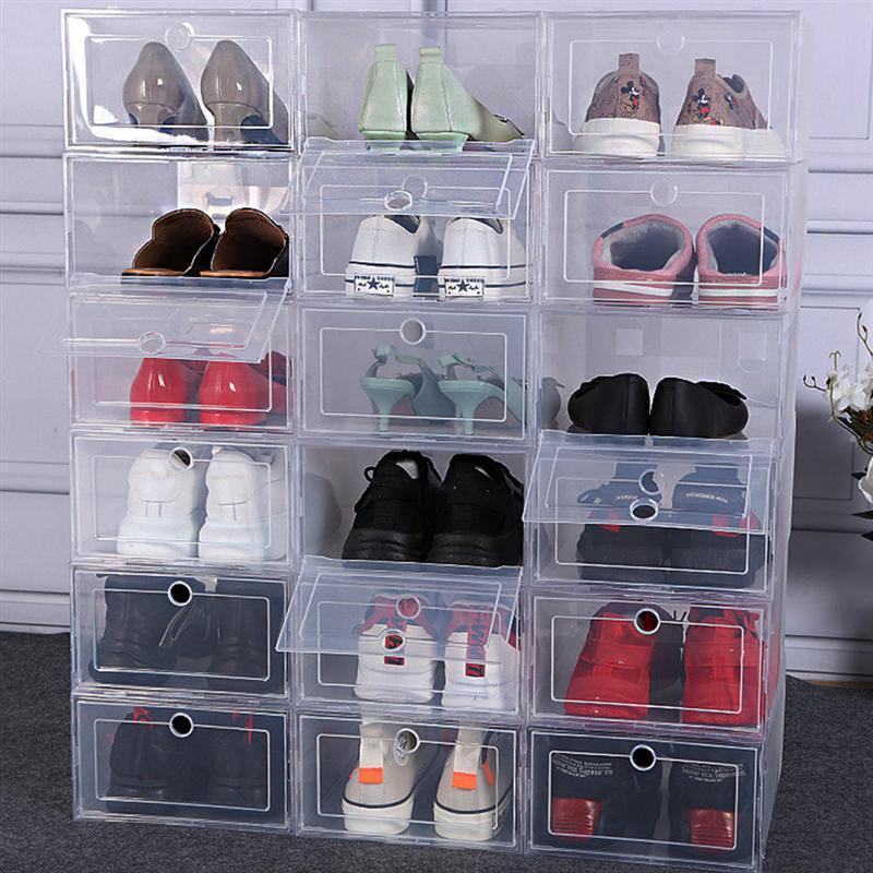 6Pcs Plastic Shoes Case Thickened Transparent Drawer Case Plastic Shoe Boxes Stackable Box Shoe Organizer Shoebox