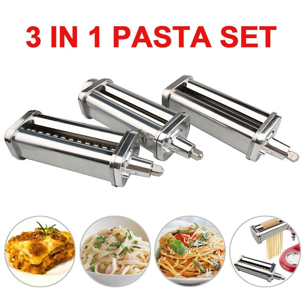 3 uds rodillo para Pasta cortador de espaguetis para mezclador de pie KitchenAid 3 en 1 con Set de rebanador de preparación