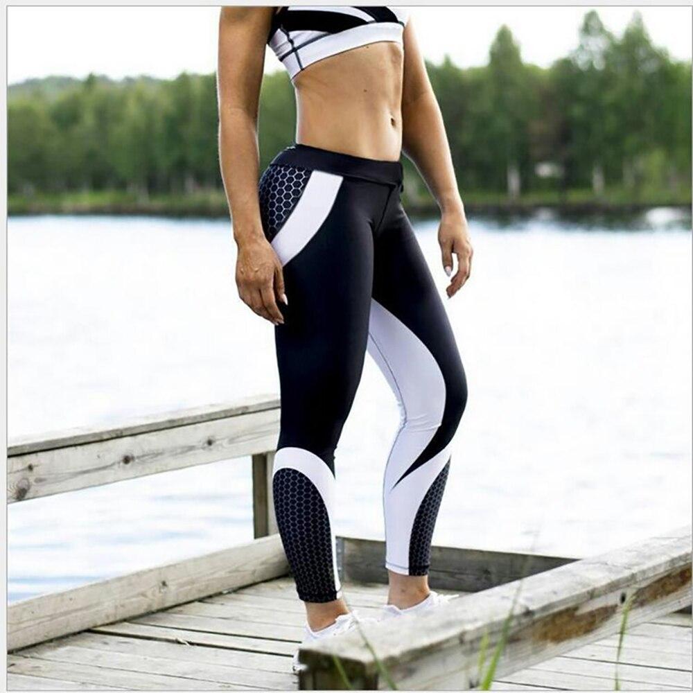 Europa y los Estados Unidos nuevos modelos de explosión cadera panal estampado costura pantalones leggings deportivos