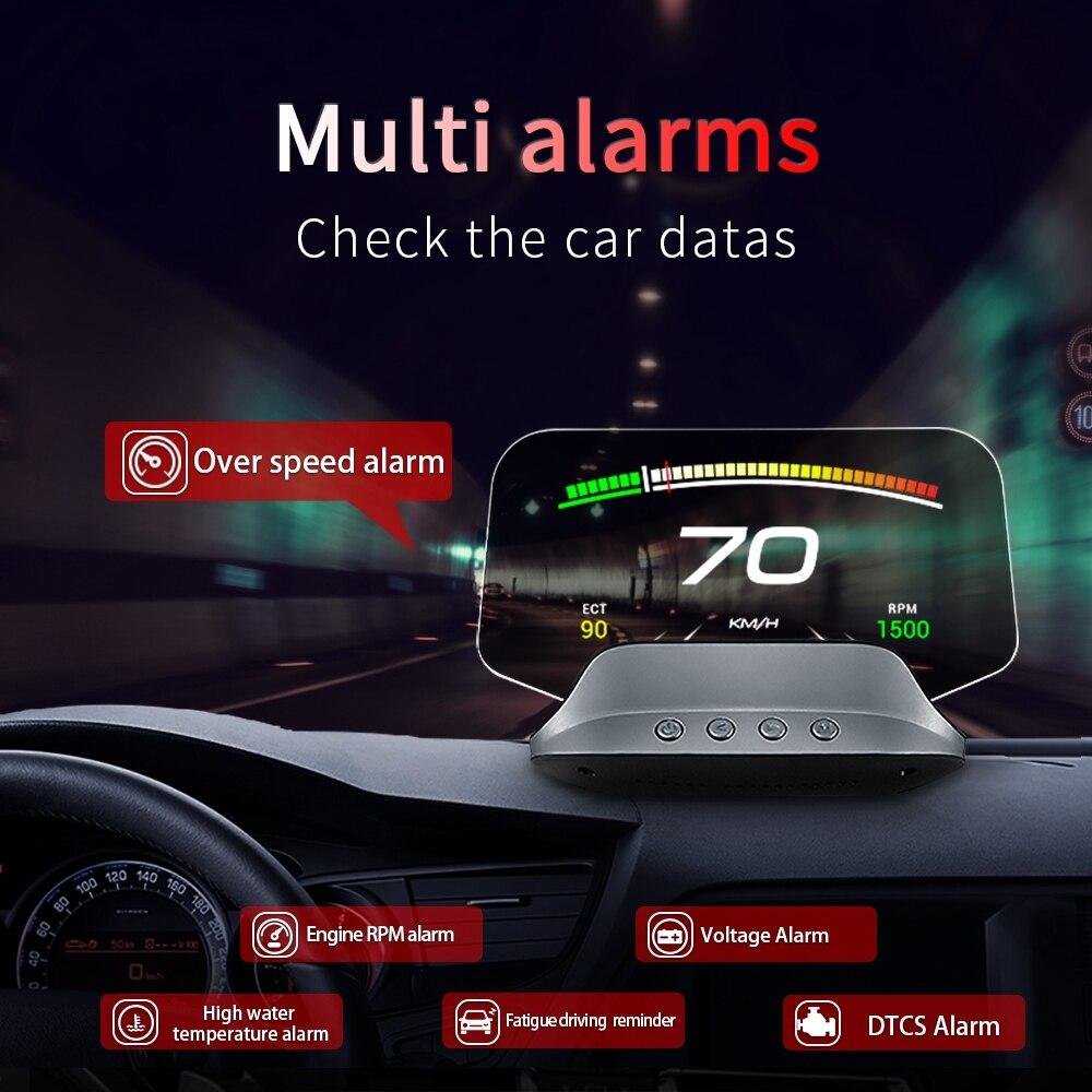 OBD2+GPS Dual Mode C3 Navigation Mirror HUD OBD2 Head Up Display GPS HUD Digital MPH KPH Speedometer Water Oil Temp RPM Voltage