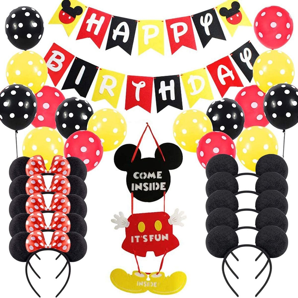 Mickey Mouse First Birthday Decor baby favor Felt Happy Banner Theme Party Supplies