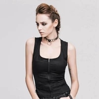 devil fashion womens punk vest with two pocket black sleeveless ripped sexy vest ttp222