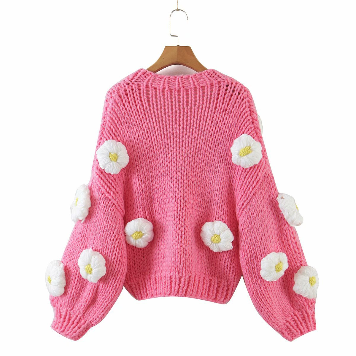 Three-dimensional Flowers Knitted Cardigan Women Sweater Winter Loose Fashion Long Sleeve Hollow Out Casual Kimono Cardigans enlarge