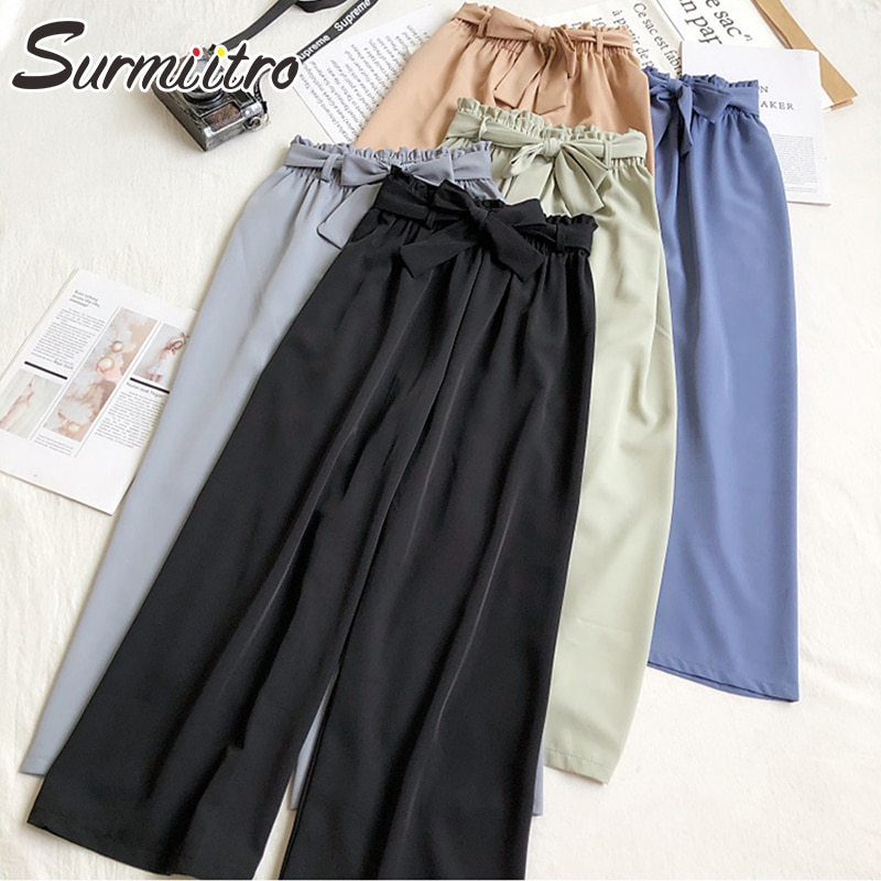 SURMIITRO Koreanische Stil Breites Bein Knöchel Hosen Frauen 2020 Frühling Sommer Schwarz Blau Weibliche Hosen Knospe Hohe Taille Hose Femme