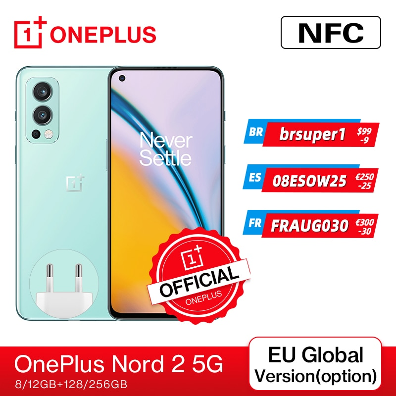 Смартфон OnePlus Nord 2, телефон со стандартным дизайном, память 8 ГБ, 128 ГБ, камера 50 МП с искусственным интеллектом, OIS MTk Dimensity 1200-AI Warp Charge 65;9.6 код:...
