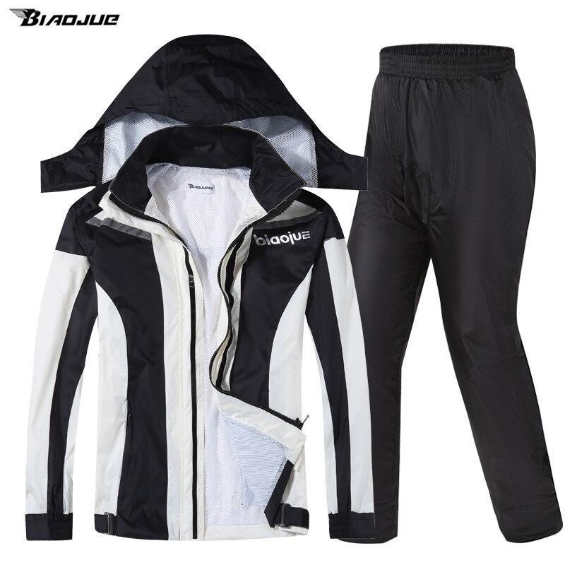 Men Waterproof Raincoat Jacket Casual Fabric Set Motorcycle Waterproof Raincoat Hooded Fashion Outdoor Raincoat Suit BG50RC enlarge