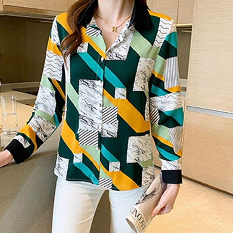 قمصان نسائية ذات رسومات هندسية رائعة بلوزات نسائية جديدة للربيع والخريف قمصان بأكمام طويلة بلوزات نسائية