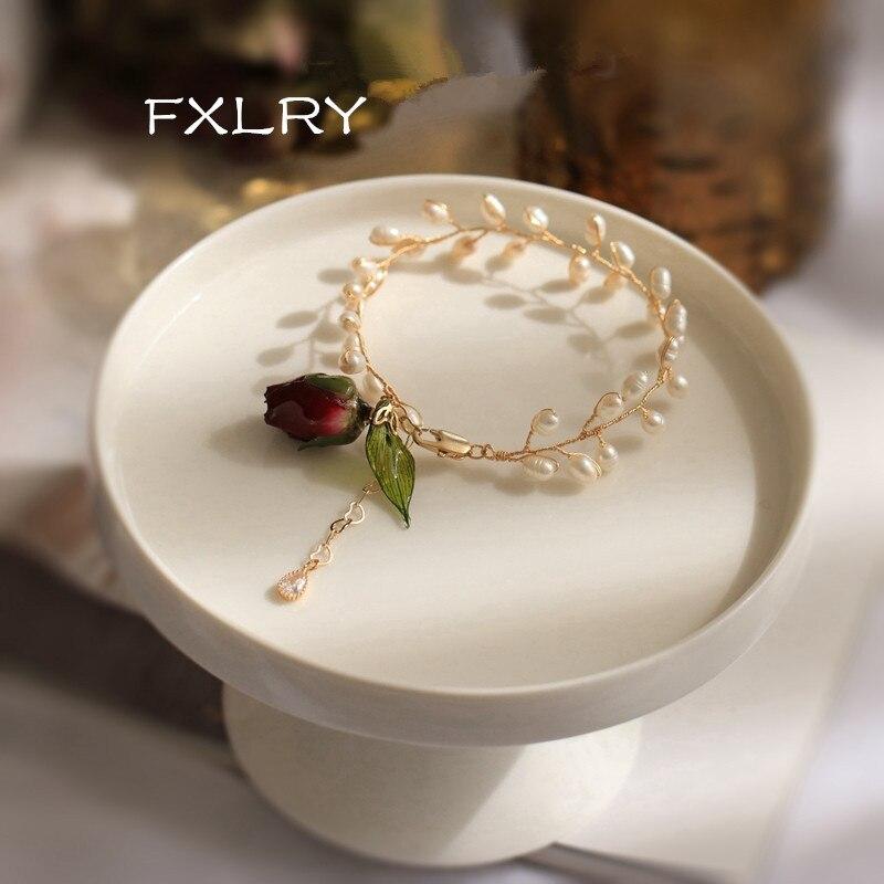 FXLRY Personality luxury Handmade Fashion Natural Pearl Bracelet Original Design Eternal Flower Bracelet  For women jewelry acce