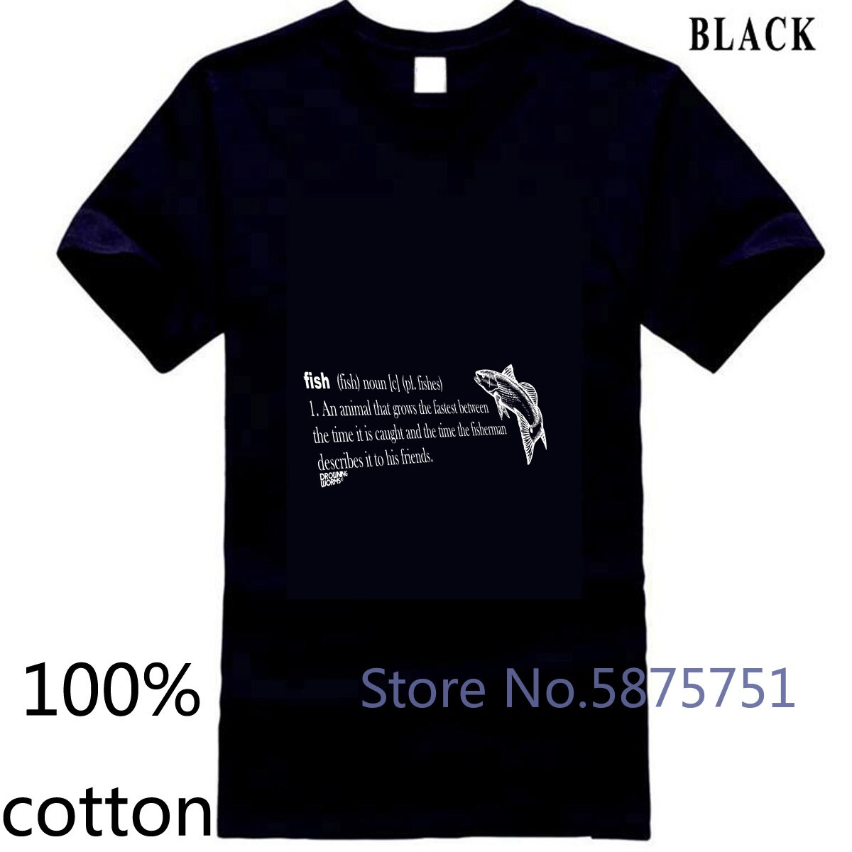 Fish Noun MENS 익사 웜 생일 기어 태클 낚시꾼 디자인 남자 티셔츠 티셔츠 탑스 티즈 100% 코튼