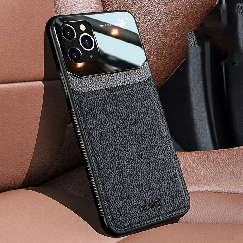 Hybrid Leather + Acrylic Phone Case For iPhone XR XS X XS Max 8 7 6 s Plus 12 Case Luxury Slim Matte