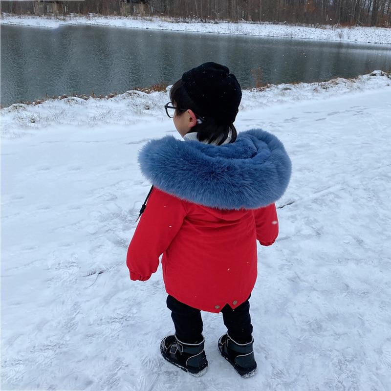 2021 Warm Hooded Baby Boy Jackets Windproof Girls Coat Faux Fur Children Outerwear Outdoor Sport Kids Snowsuit Teenager Clothes enlarge