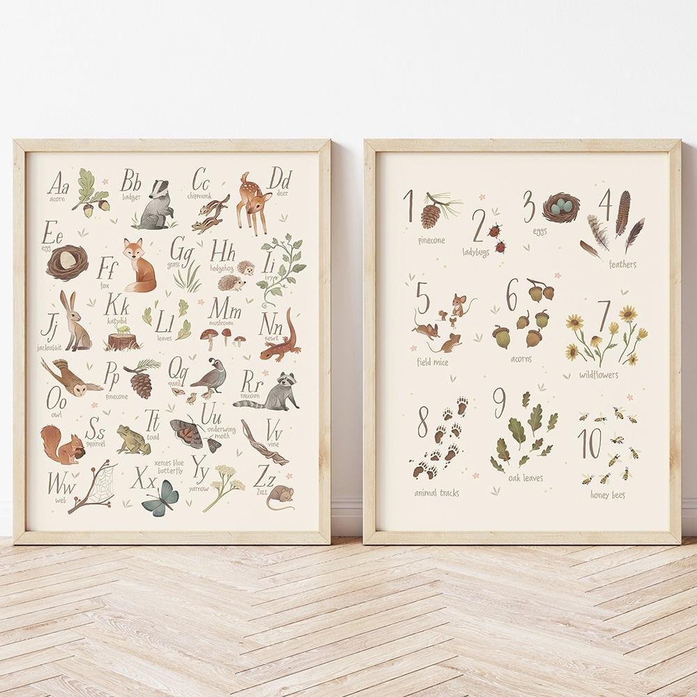 Pósteres educativos del alfabeto y número del bosque e impresiones, cuadro sobre...