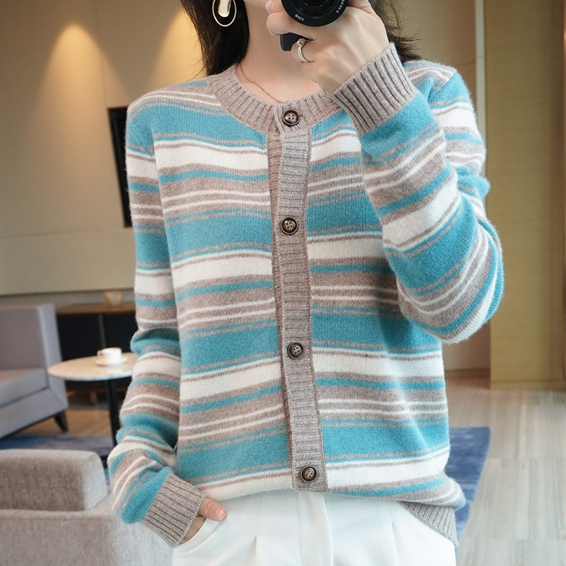 20-autumn-and-winter-round-neck-ladies-100-pure-wool-knit-striped-cardigan-full-sleeve-jacket-sweater-new-soft-and-warm-product