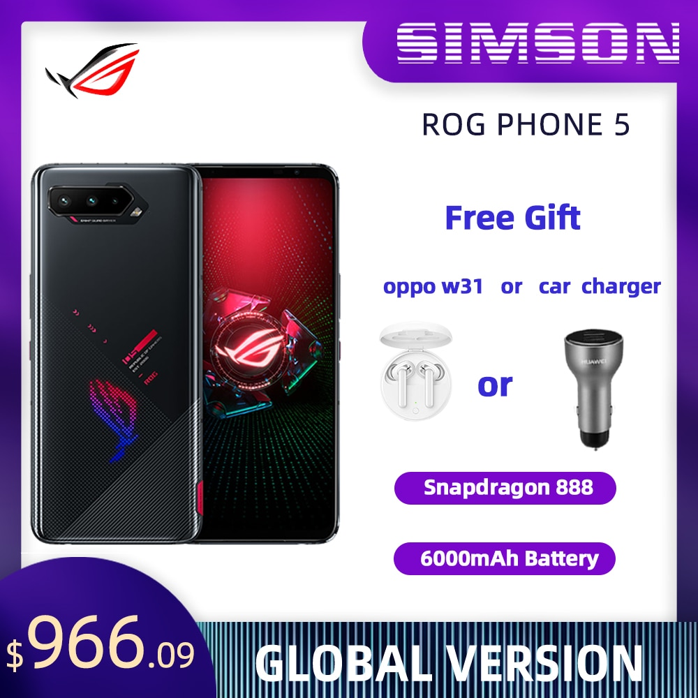ASUS ROG Phone 5 глобальная версия Snapdragon888 OTA Update 8/12/16G Оперативная память 128/256/512ROM NFC 6000 мА/ч, 5G игровой телефон ROG5 смартфон