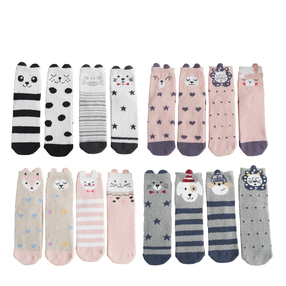 4 Pairs Japanese Korean Style Kawaii Fuzzy Socks Women with Cartoon Dog Panda Fox Pink Socks Winter for Ladies 112601
