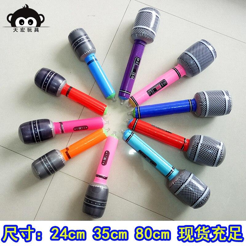 Micrófono inflable modelo de micrófono, accesorios inflables para escenario, micrófono de 35/80cm, respetuoso con el medio ambiente, PVC inflable