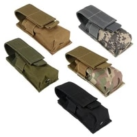 tactical molle m5 flashlight pouch cqc single pistol magazine pouch torch holder case outdoor hunting knife light holster bag
