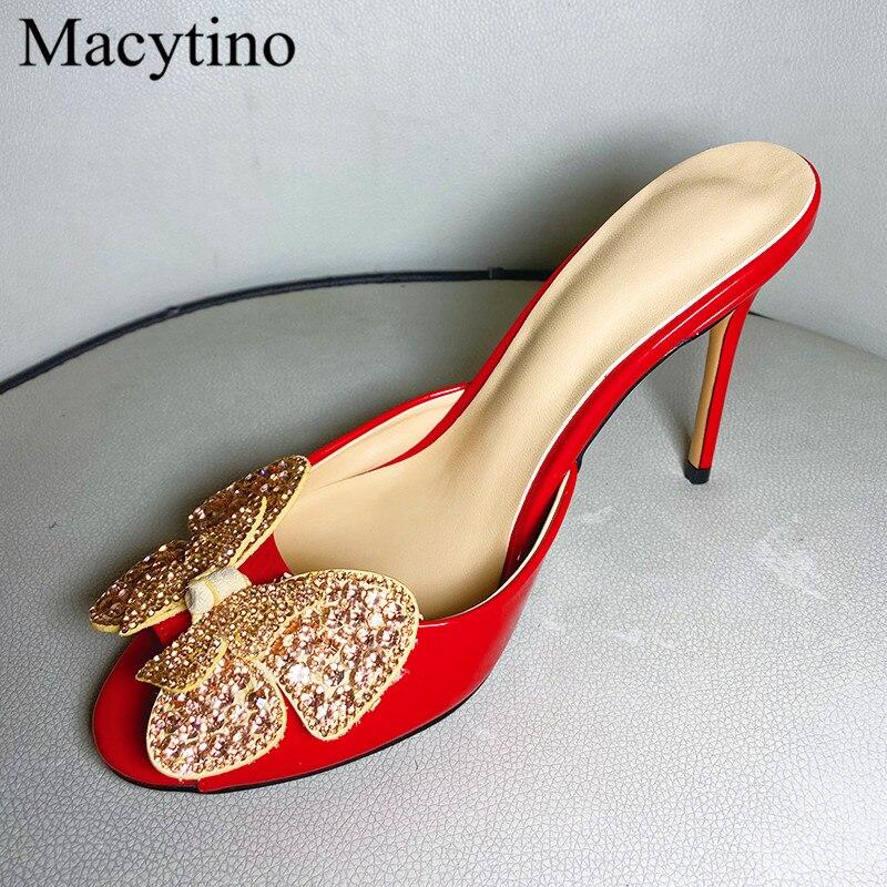 حذاء نسائي بكعب عالٍ بتصميم خنجر ، حذاء بكعب عالٍ مزين بأحجار الراين ، بمقدمة مستديرة ، باللون الأحمر والذهبي والأسود