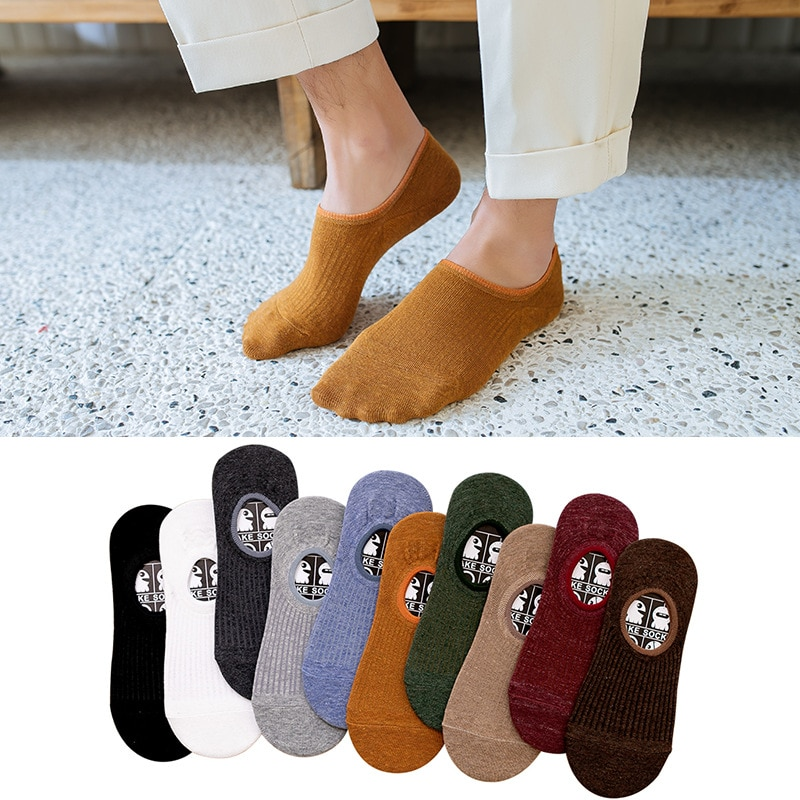 10 Pairs Men's Cotton Socks Summer Solid Shallow Mouth Invisible Sox Casual Breathable Non Slip Silicone Strip Adult Boat Socks