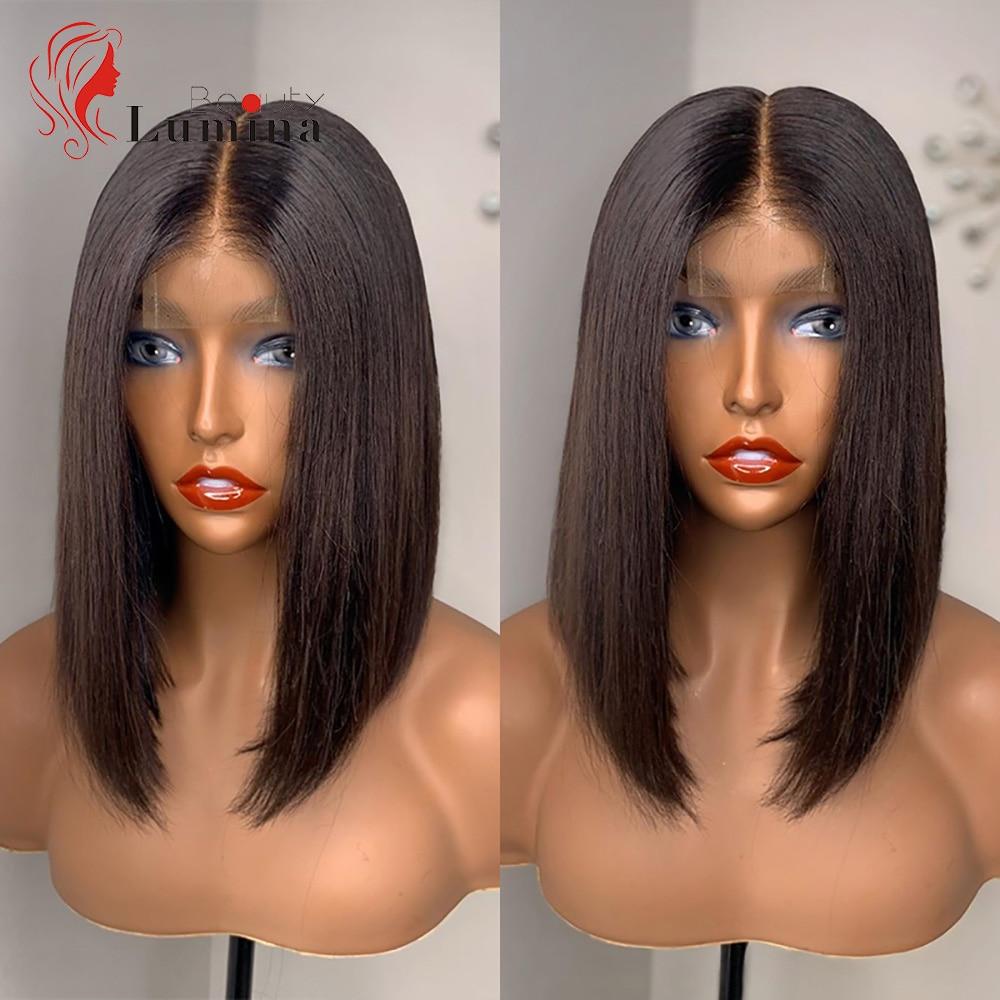 2x6 Short Bob Wig Pre Plucked Lace Closure Wig Brazilian Short Straight Virgin Human Hair Wig 180% Density 10~14 Inch