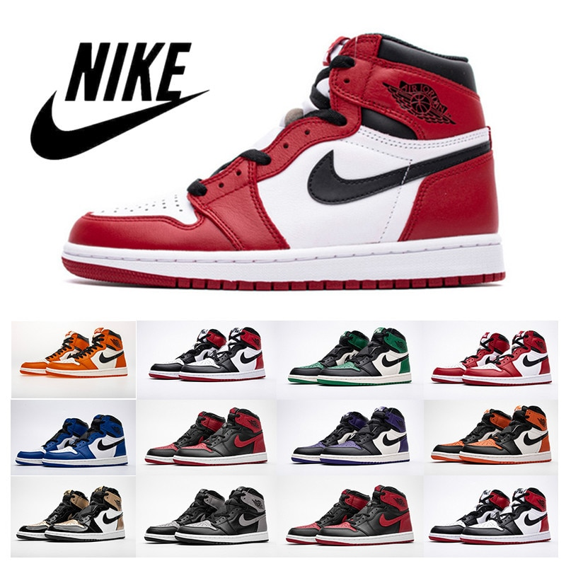 B12 2021 New Hot Air 1 Men FileRecv AJ 1 Chicago Red mid-top Women basketball shoes size Comfortable Woman Size 36-44