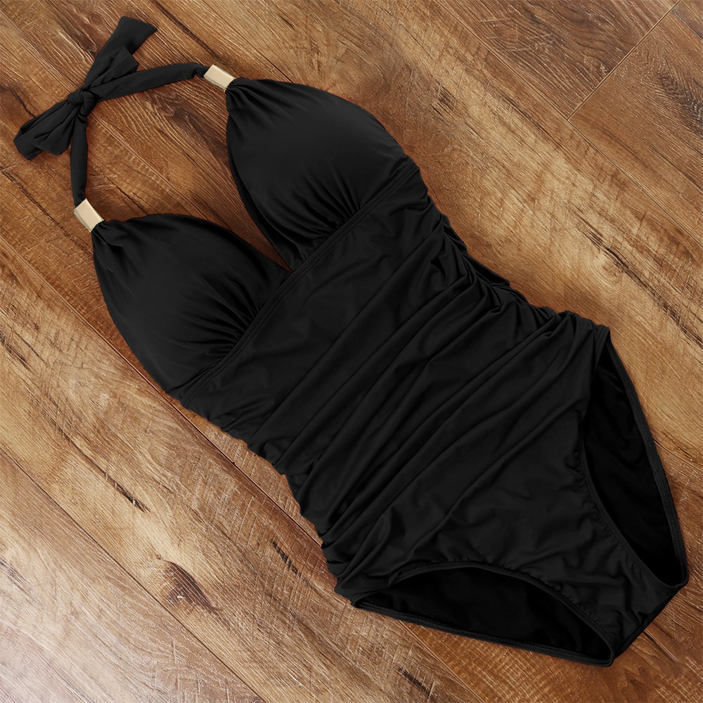 One Piece Tankini Plus Size Swimwear Women Black Halter Hot Monokini Swimsuit Push Up Bathing Suit Sexy 2020 High Waist Bodysuit