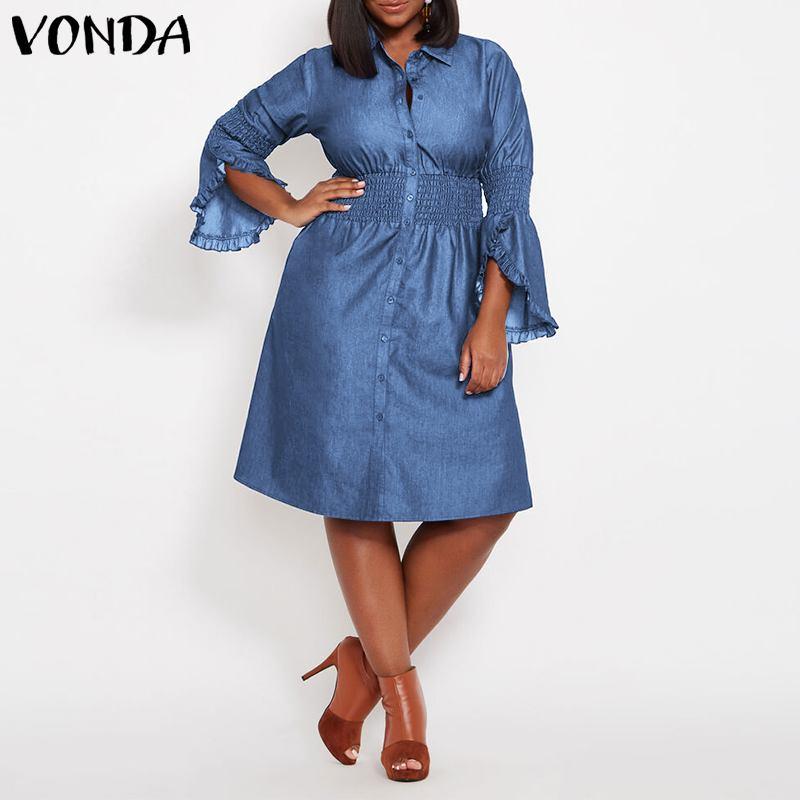 Офис Открытое платье без рукавов джинсовое платье 2020 VONDA «Бабочка», с эластичной резинкой на талии, с проектом по колено платье летнее платье размера плюс повседневные платья; Vestidos