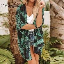 Casual Vintage Frauen Kimono Strickjacke Flora Gedruckt Chiffon Bluse Sommer Lange Häkeln Kimono Preto Outwear Tops Blusas Mujer