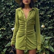 Women Ruched Shirt Dresses Turn Down Collar Long Sleeve Slim Mini Dress Sexy Party Club Solid Green