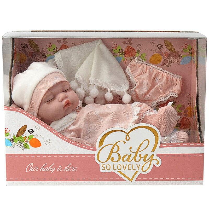 Certificação cnas infantil adorável alta primária simular 10 polegadas modelo boneca de dormir brinquedo do bebê com pano macio