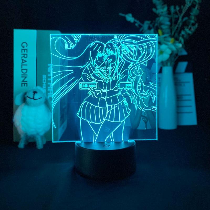 3d lampada kakegurui compulsivo jogador lampada de projecao luz da noite 3d despertador