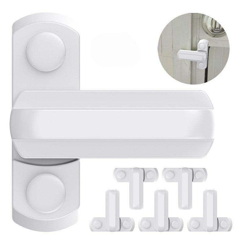 6pcs Safe Window Lock Sash Jammer T Shape Zinc Alloy Window Door Security Sash Lock Handle Latch Child Protection White
