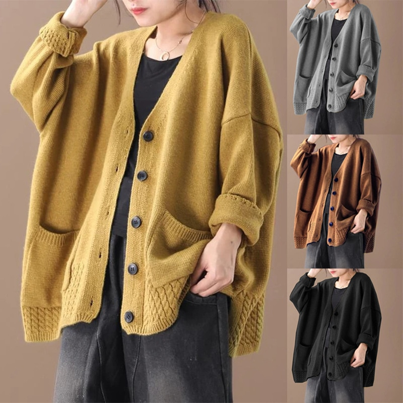Sweater Knitted Jacket Korean Chic Solid Tops Woman's Sweaters Harajuku V-neck Fashion Single-Breasted Sweater Cardigans
