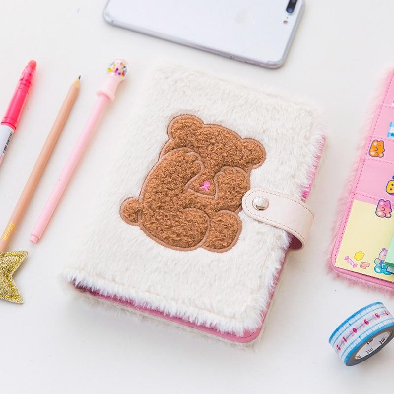 Cubierta de piel de oso cuaderno diario horario diario Memo tarjeta de crédito titular Agenda cuaderno planificador organizador
