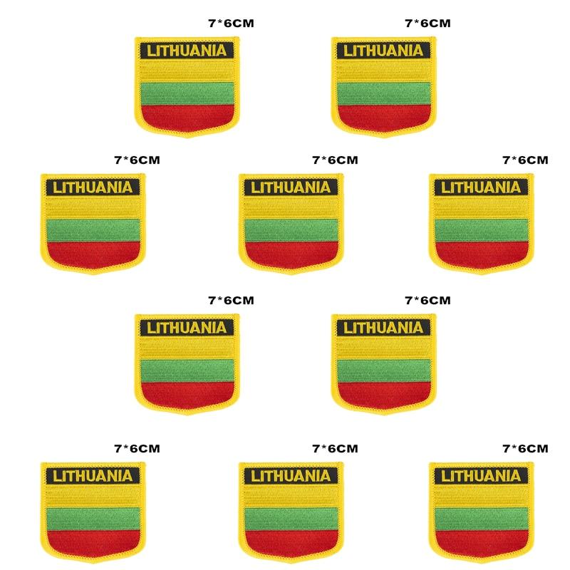Parches bordados con bandera de Lituania para planchar en la Sierra, parches de transferencia, aplicaciones de costura para ropa en casa y jardín