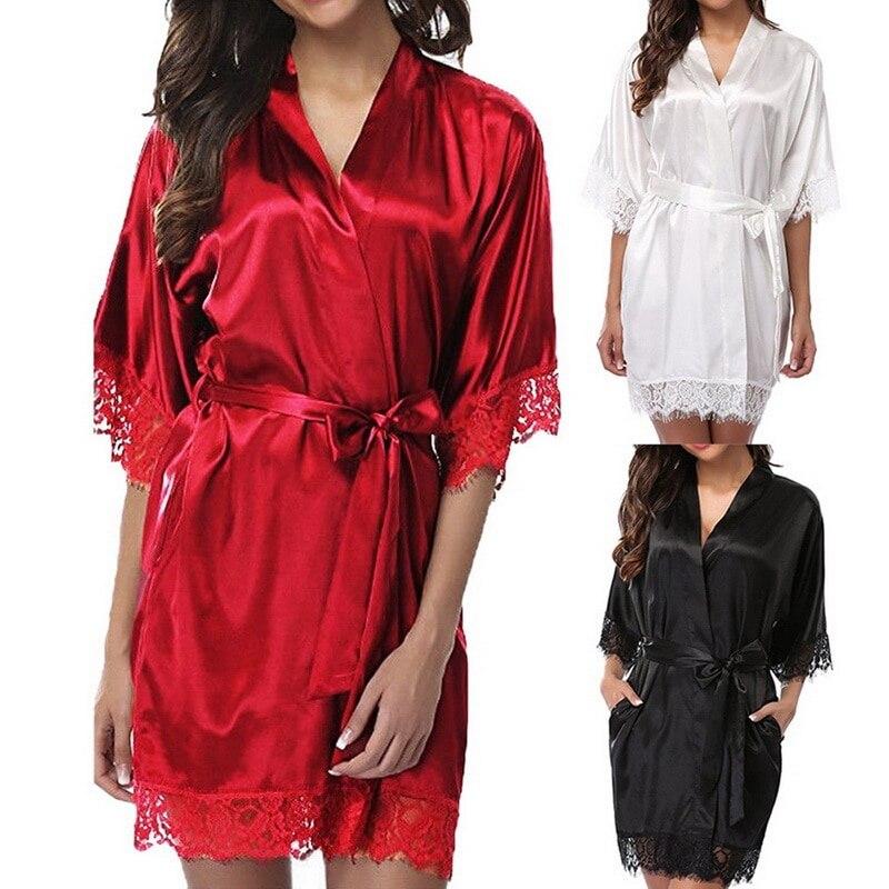 فستان نوم نسائي قصير من الساتان مع حزام ، ملابس داخلية ناعمة ، روب حمام ، بيجاما ، مثير ، دانتيل ، لون سادة