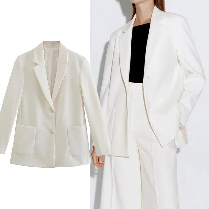 Za Woman موضة 2021 سترة بيضاء للمكتب أكمام طويلة مستقيمة فضفاضة تناسب معطف جيب أزرار ملابس نسائية عتيقة