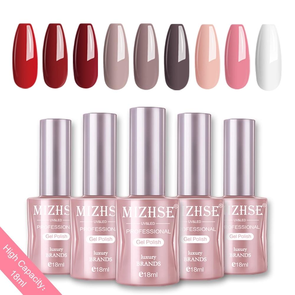 MIZHSE Nail Gel Varnish 18ML Soak Off UV LED Nail Gel Pure Color Paint Gel Enamal For Manicure Fashion Nail Art Design