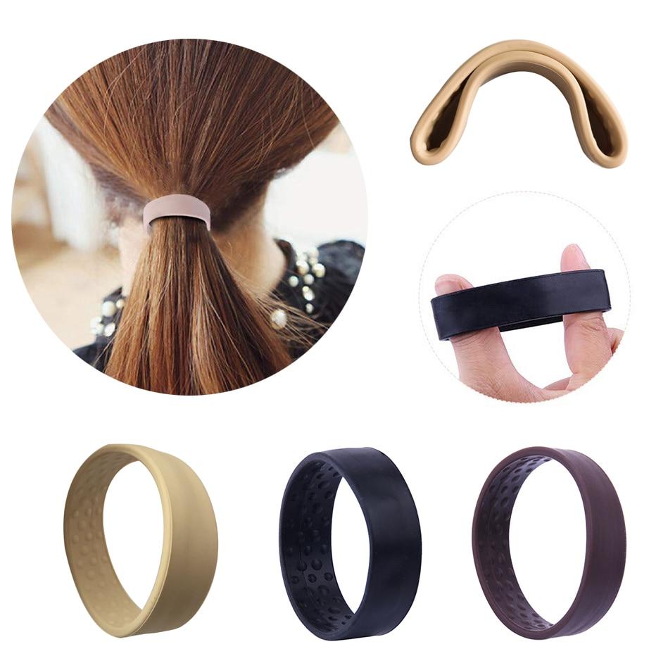 Banda elástica plegable de silicona para el cabello para mujeres y niñas soporte mágico de cola de caballo lazo elástico Diadema con hueco para cola cuerda