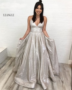 Sparkly Arabic Prom Dresses 2020 Deep V-Neck Sleeveless A-Line Shinny robe de soiree evening dress