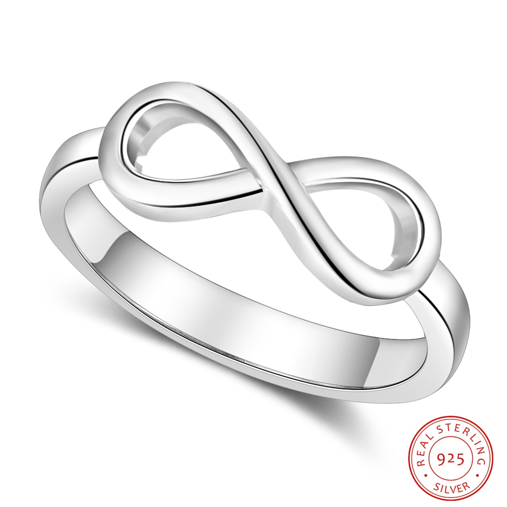 925 Sterling Silver Personalized Infinity Ring Endless Love Symbol Custom Name Finger Ring Silver 925 Jewelry Best Friend Gift
