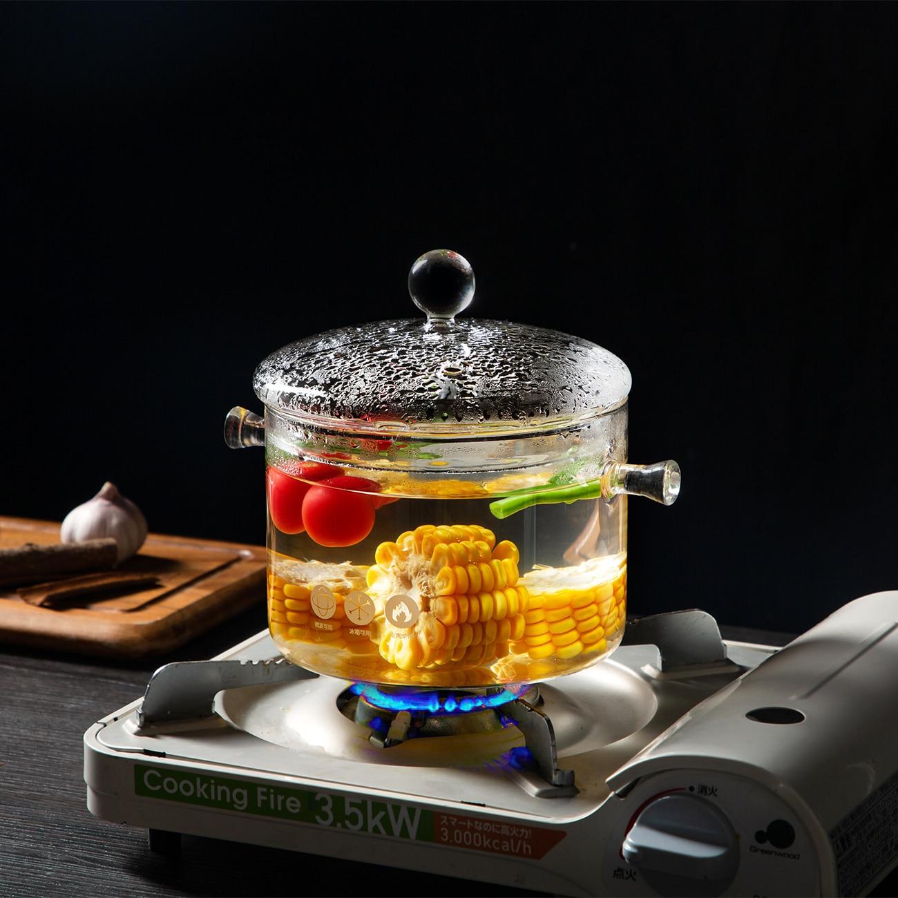 وعاء زجاجي مقاوم للحرارة 1350 مللي ، إناء الحساء ، غليان الماء ، سلطة زجاجية بكلتا الأذنين من البورسليكات