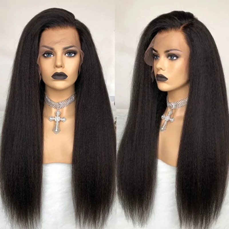 Glueless Kinky Straight Full Lace Human Hair Wigs For Women Yaki Coarse Full Lace Wig Virgin Hair 360 Lace Front Wigs