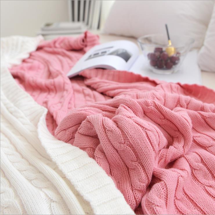 J-بطانية سرير بلون سادة ، مفرش سرير منسوج ، مريح للنوم