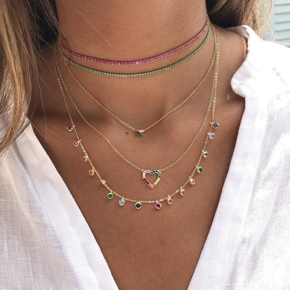 Arco-íris cz simples cz charme delicado feminino meninas jóias 925 prata esterlina instrução fina prata charme gargantilha colares clássico