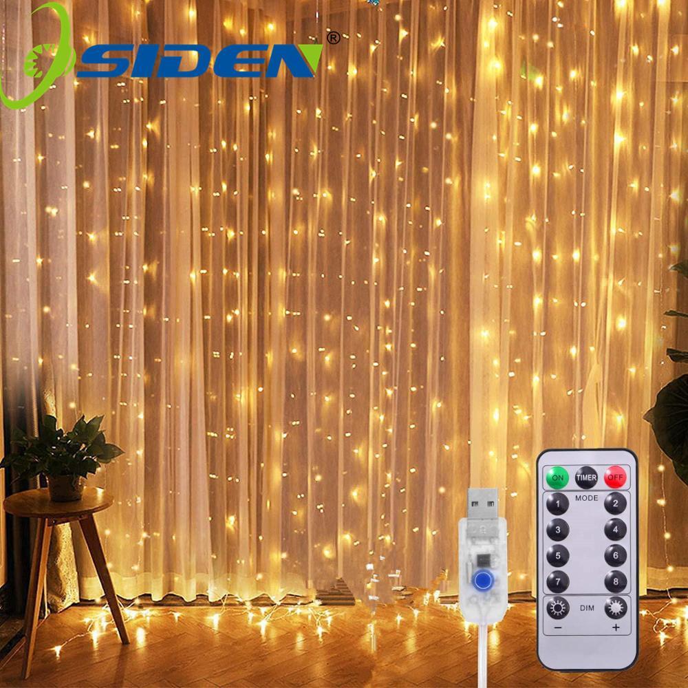 Cortina de luz LED USB, guirnalda de luces de hadas de 8 modos 3x3m 3x1m 3x2m, guirnalda de hadas para decoración de hogar, bodas, exteriores, Navidad, Año Nuevo