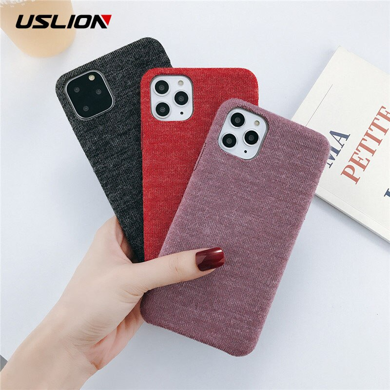 Uslion para iphone 11 11 pro max x xs xr xs max pano textura de cor sólida casos de telefone para iphone 6s 7 8 plus capa macia do plutônio