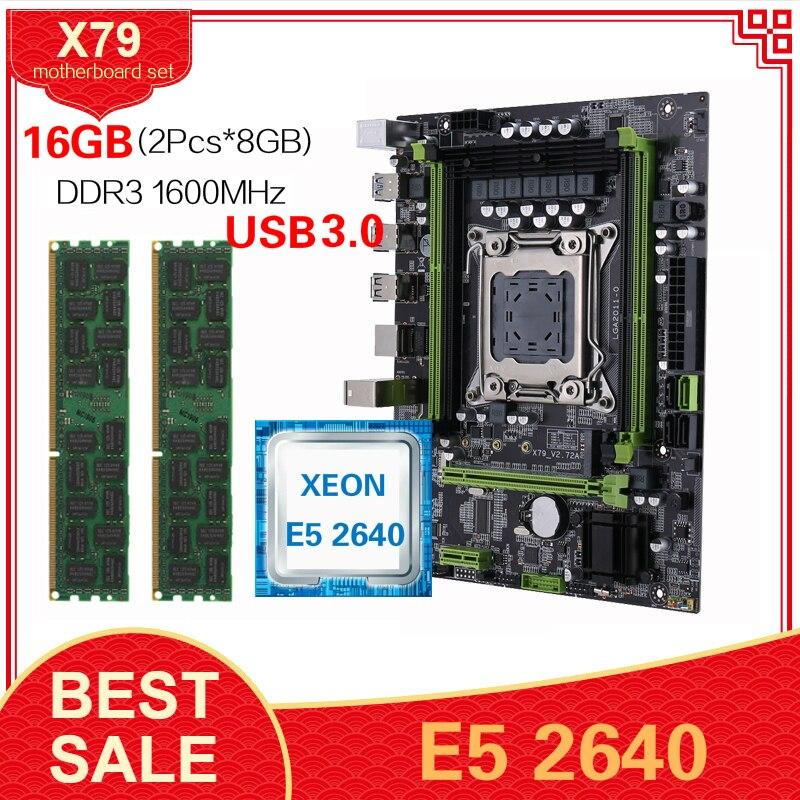 Kllisre X79 chipset motherboard USB3.0 set E5 2640 C2 2Pcs 8GB 1600 DDR3 ECCREG Ram